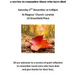 Fallen Leaves All Souls Day Service Saturday 2nd November 4pm