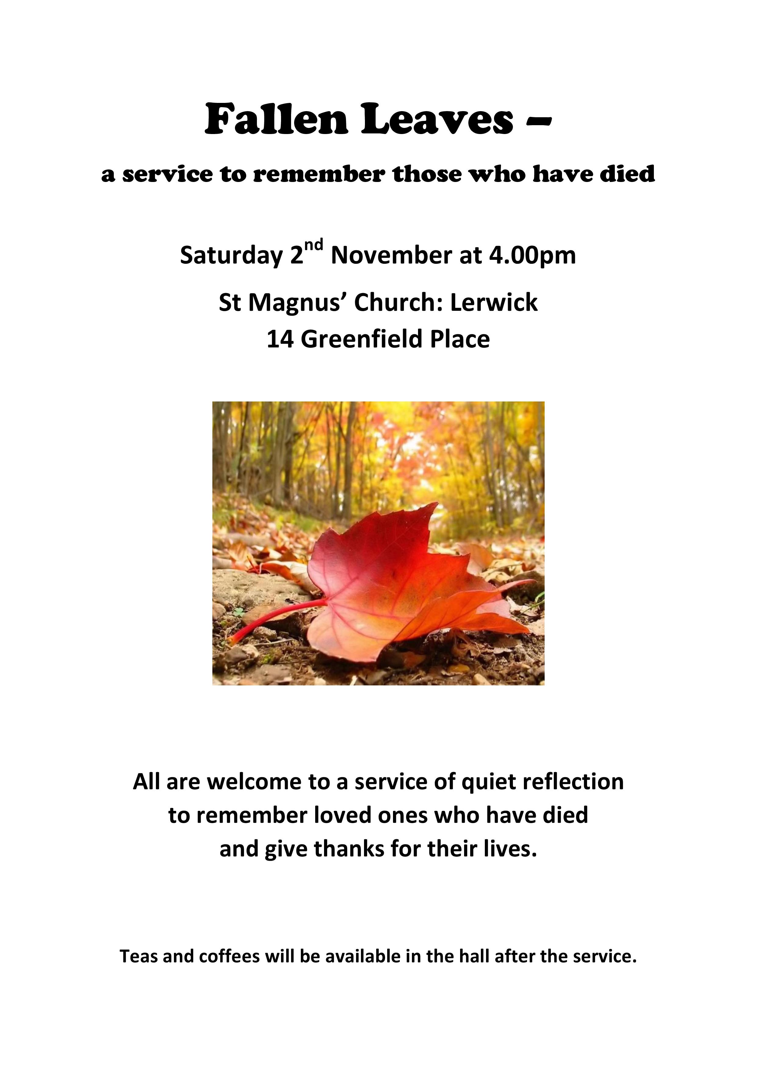 All Souls Day Service – Fallen Leaves – Saturday 2nd November 2019 4pm